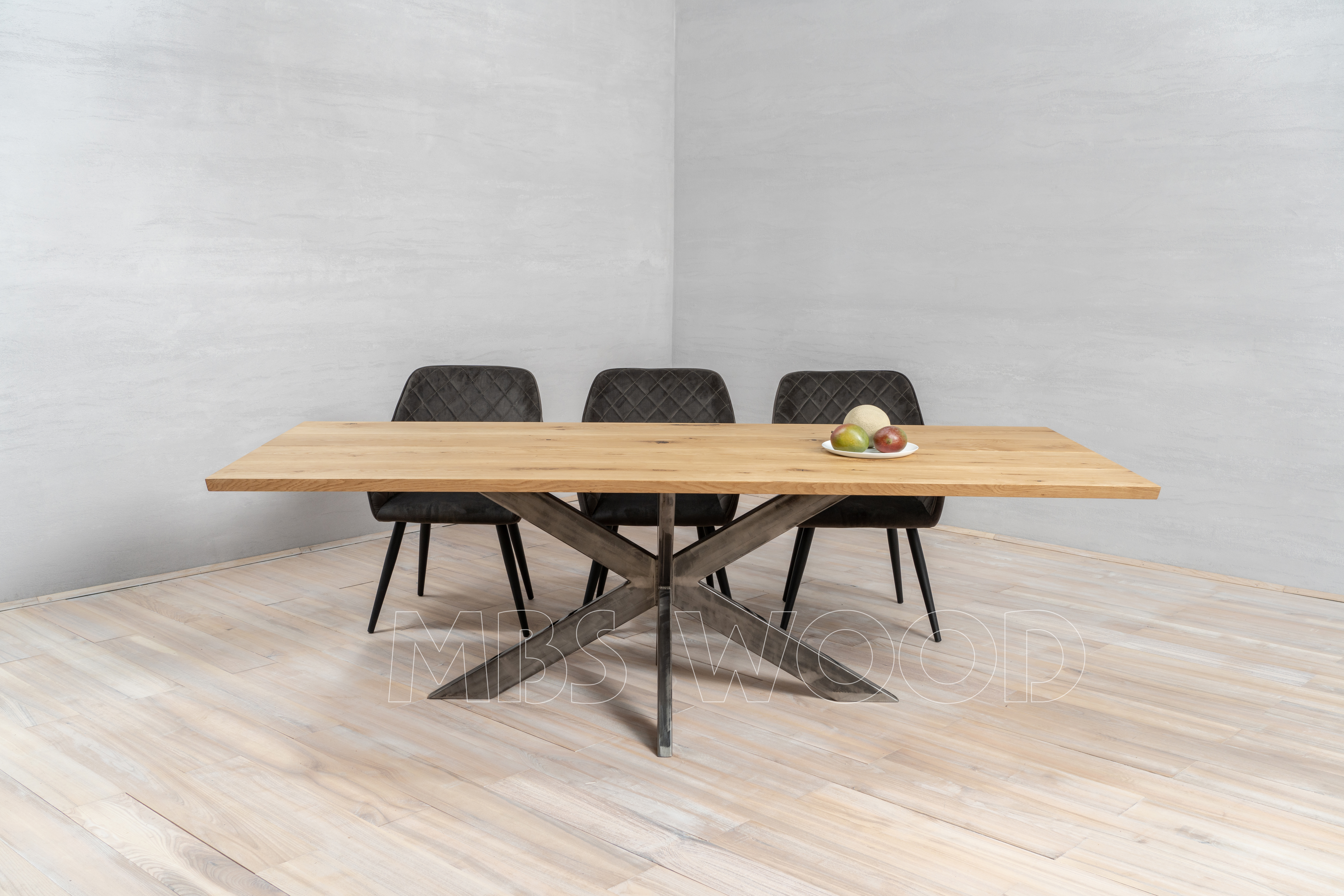 Oak tables with metal legs spider